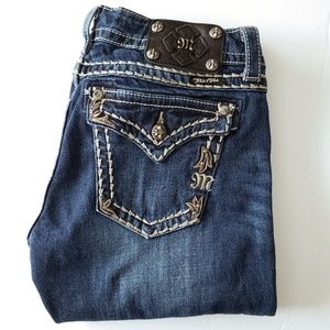 MISS ME Dark-washed Embroidered Skinny Jeans